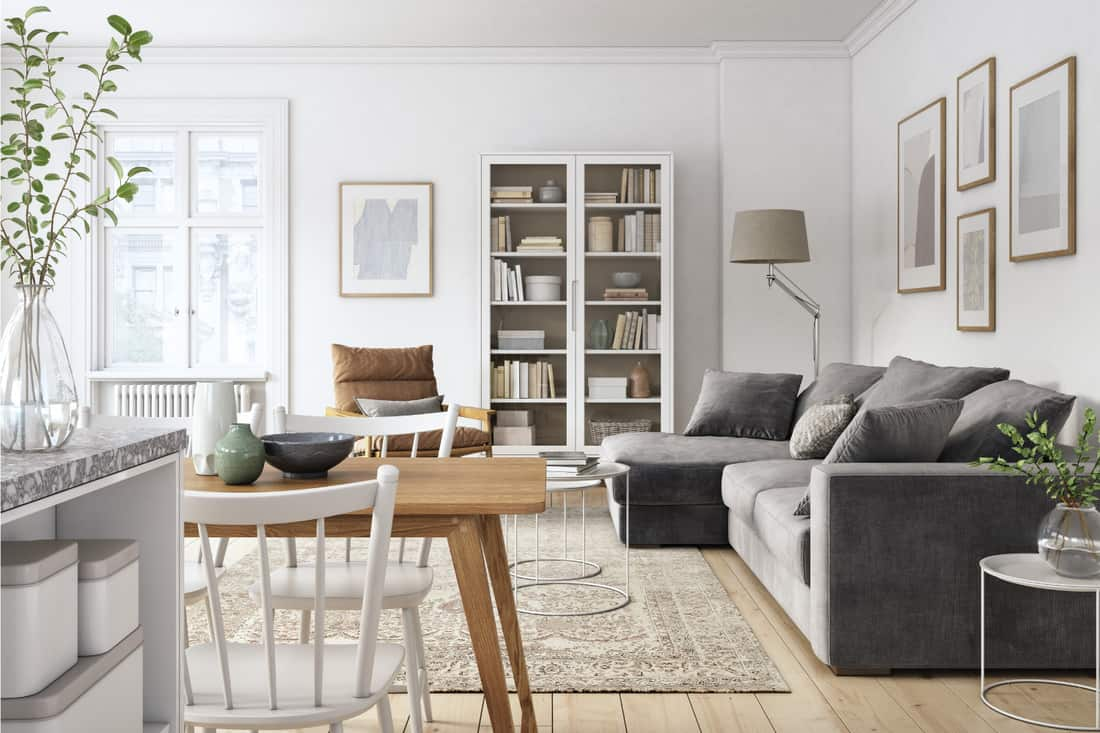 Scandinavian interior design living room with gray and brown colored furniture. White Or Antiqued White Chairs