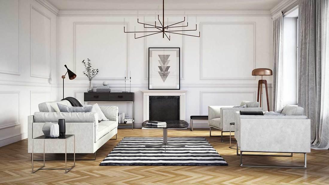 Scandinavian interior design living room with white sofa set, vinyl floor and floor lamp