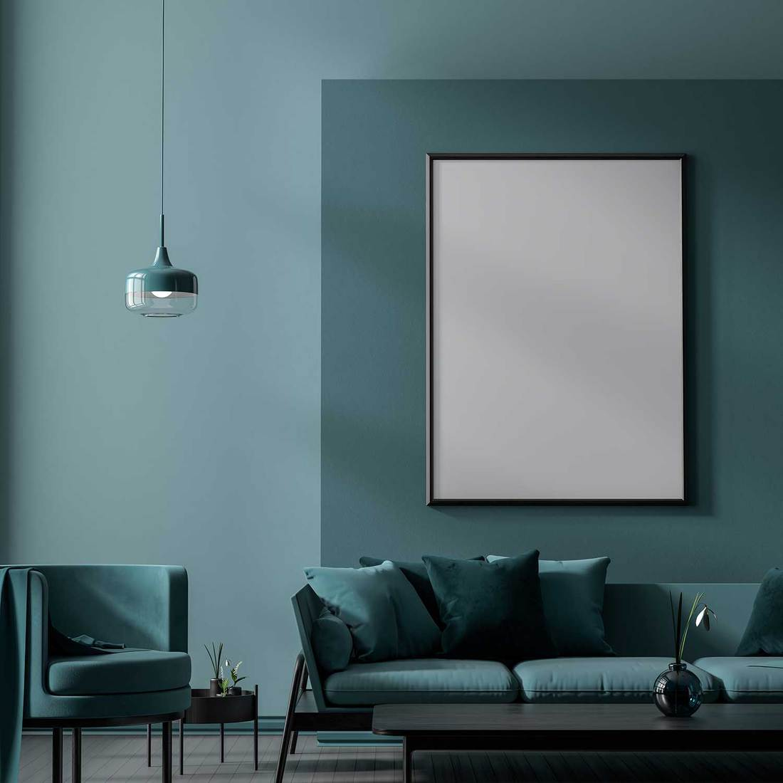 Scandinavian style interior with modern furnitures and poster frame on wall