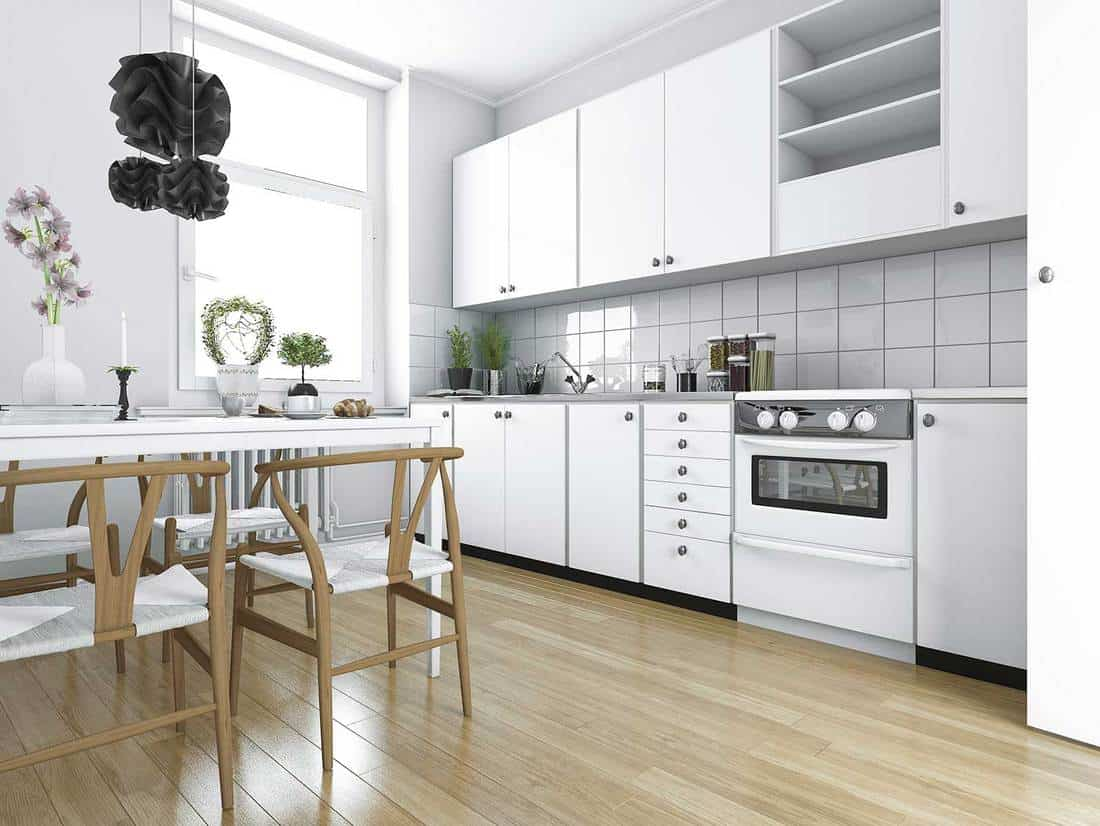 Scandinavian vintage kitchen with dining table
