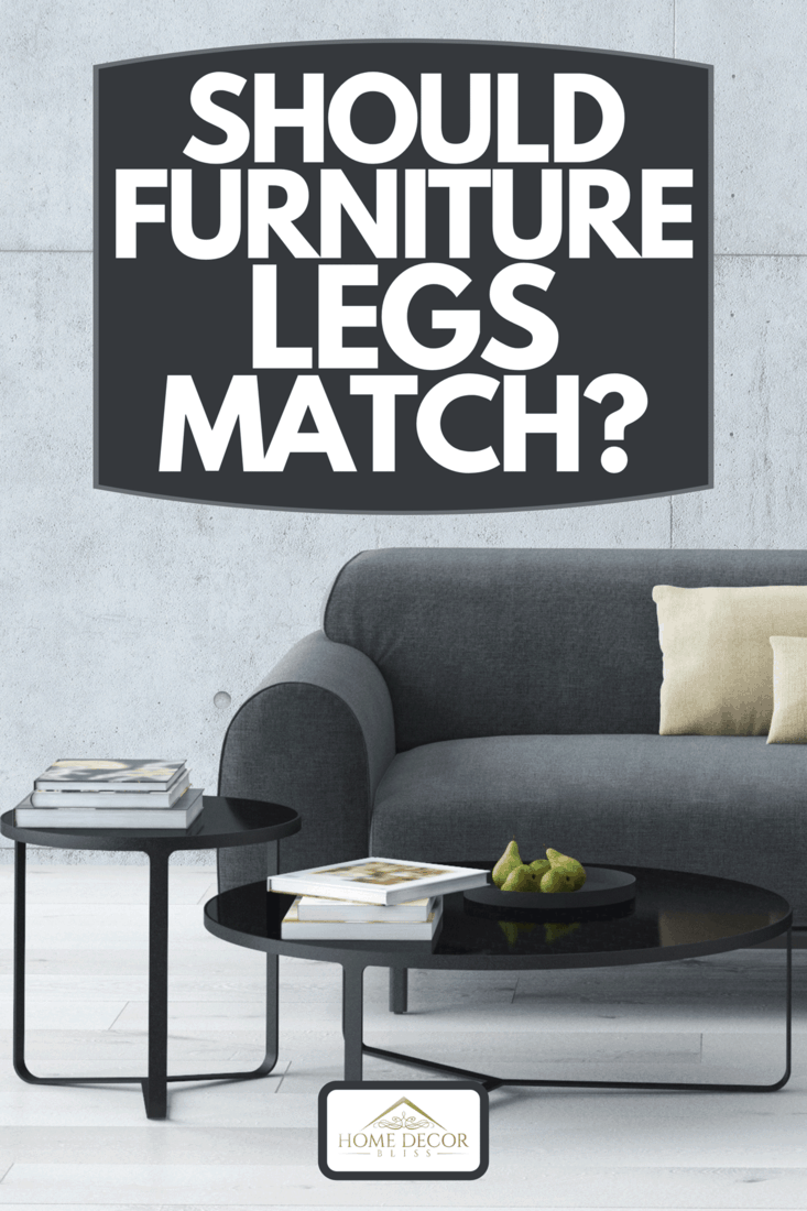 Contemporary living room loft interior with sofa and coffee table, Should Furniture Legs Match?