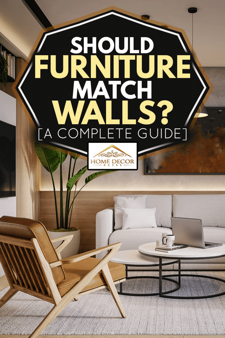 Modern living room with sofa, coffee table and a chair, Should Furniture Match Walls? [A Complete Guide]