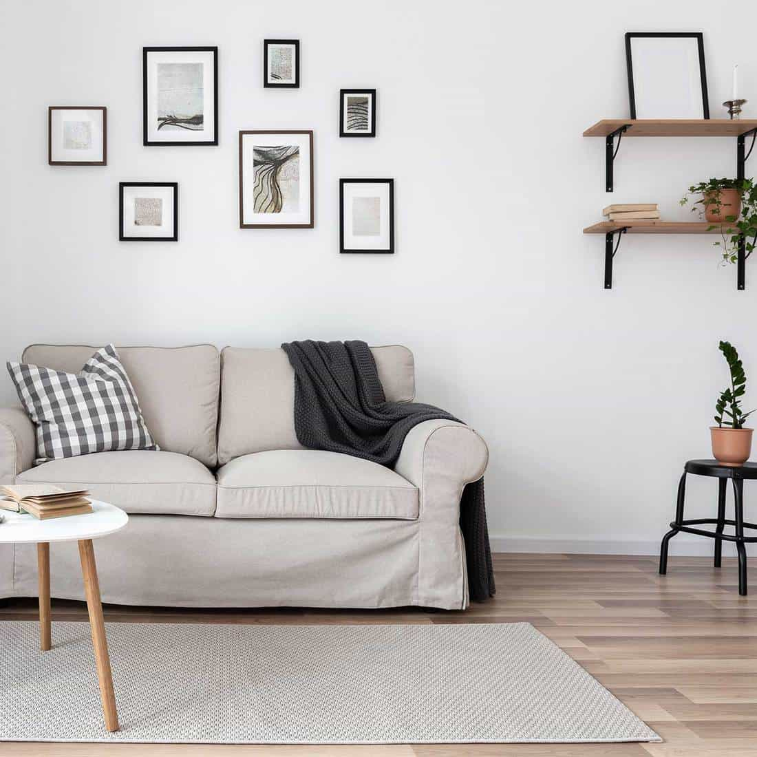 Simple living room with wall frames, sofa and coffee table
