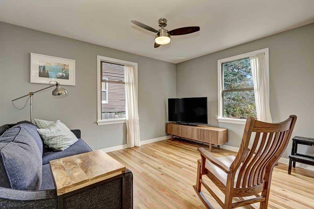 Simplistic living room interior with light hardwood floors