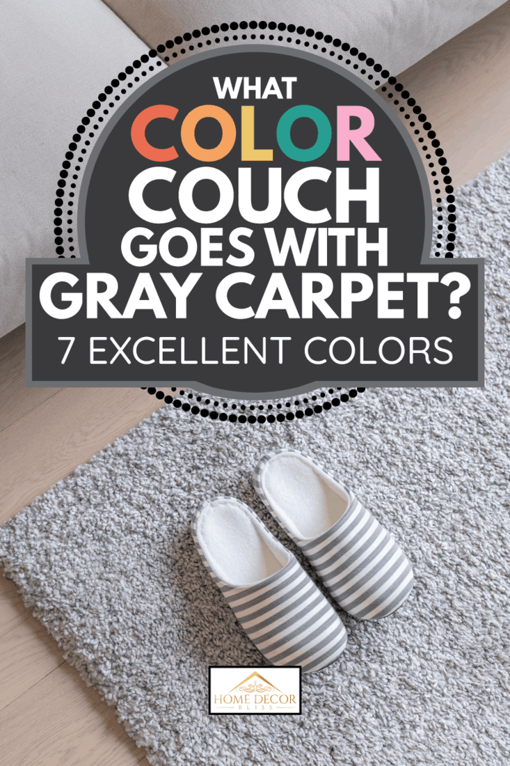 Slippers on Gray carpet on floor at home, gray sofa. What Color Couch Goes With Gray Carpet [7 Excellent Colors]
