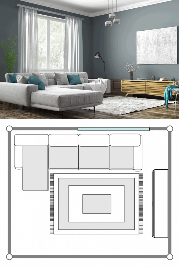 Small living room with a gray sectional sofa, light gray colored wall, small window with curtains, and wooden laminated flooring