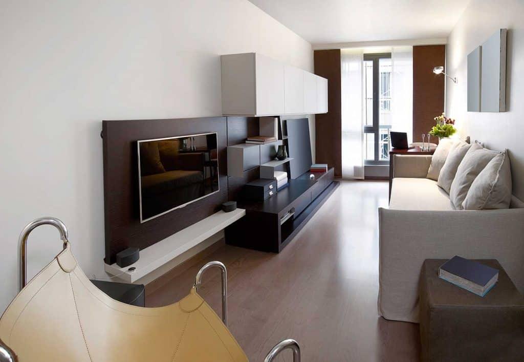 Small modern living room interior of a condominium