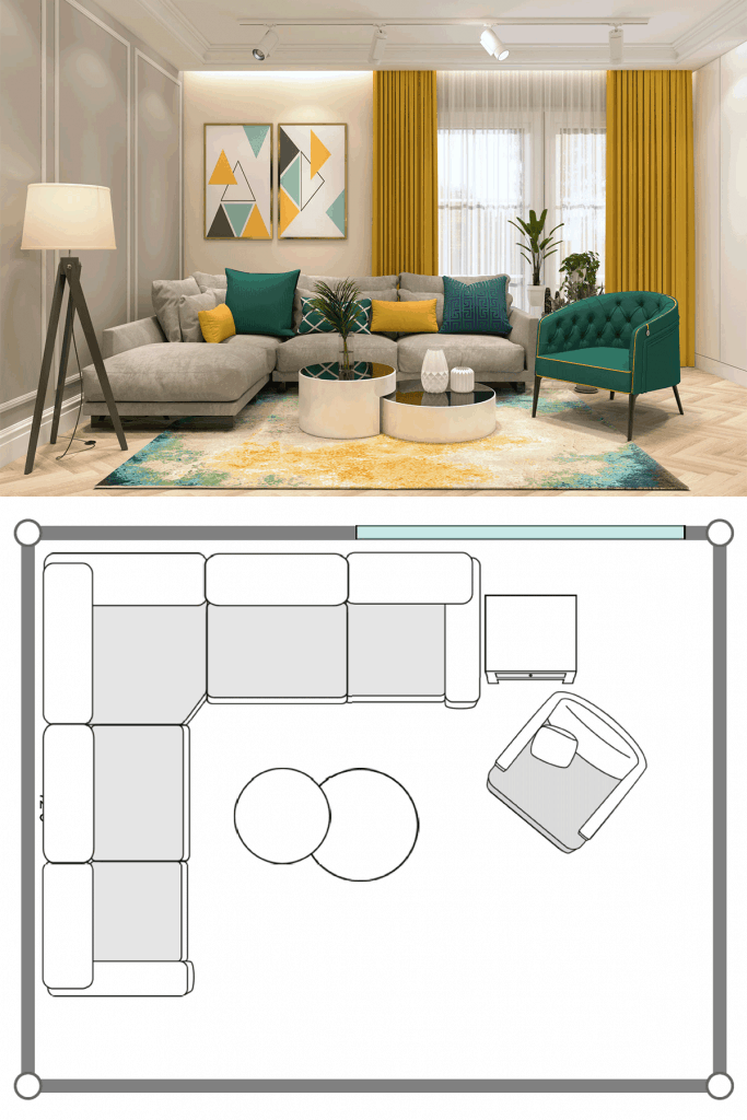 Small narrow living room with a sectional sofa with throw pillows, round coffee tables, and indoor plants all over the room