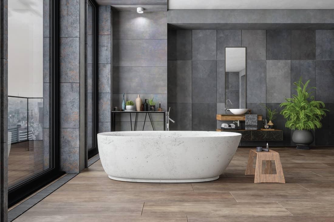 Soft Gray Bathroom With Freestanding Bathtub