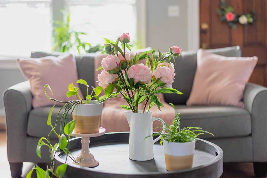 Spring home decor for the living room in pink and gray with plants and flowers on coffee table