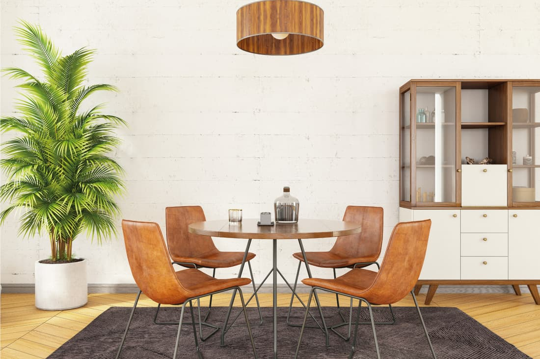 Stylish and modern dining room interior with wood elements and indoor plant, elegantly natural design