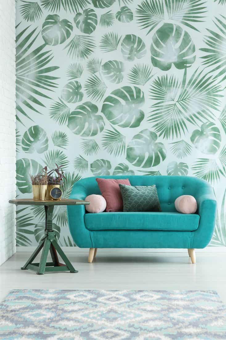 Table with potted plants and clock standing by the turquoise sofa with pillows in bright interior with jungle print wallpaper