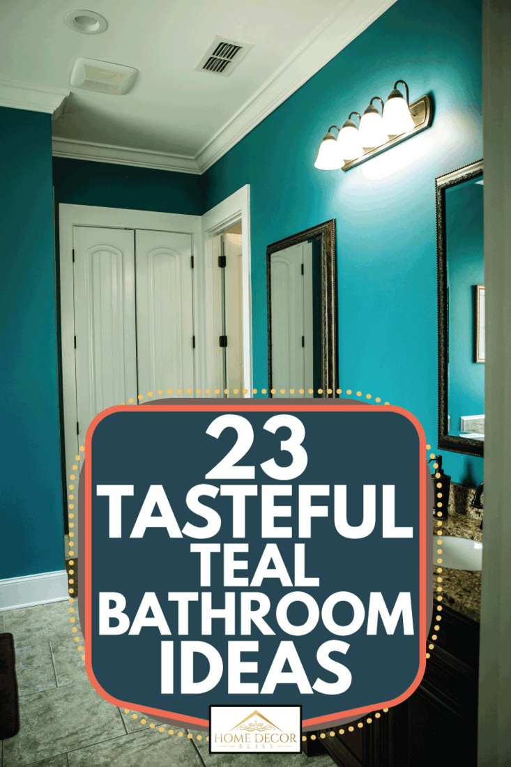 Teal color to master bath with two sinks and granite countertops and a separate toilet area in a modern home with a vaulted ceiling. 23 Tasteful Teal Bathroom Ideas