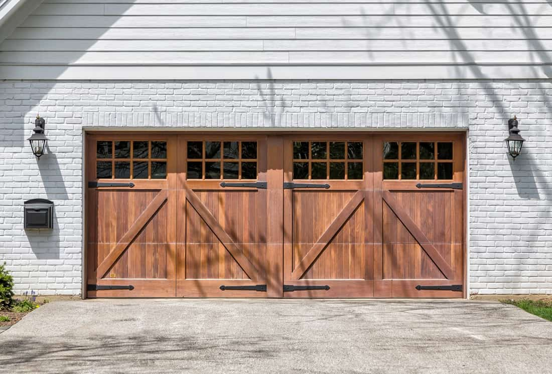 Traditional two car wooden garage