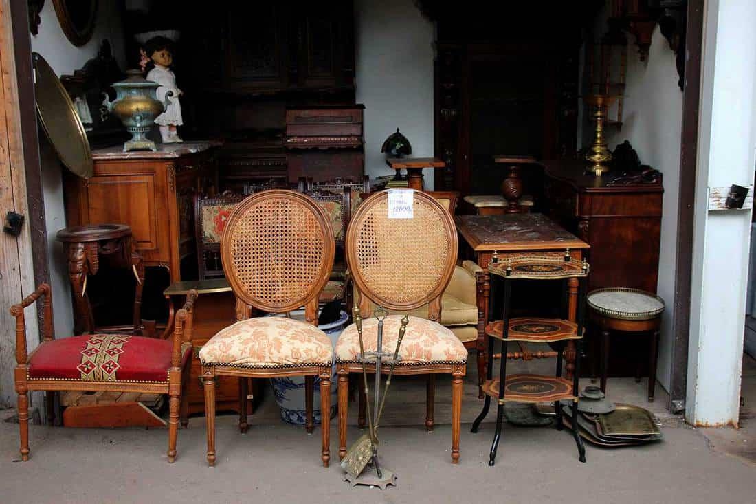 Vintage furniture on flea market