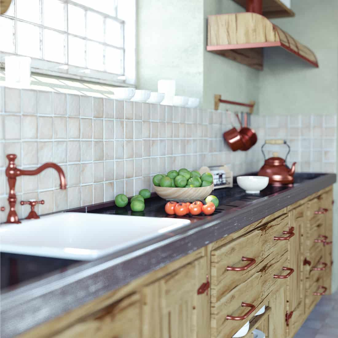Vintage wood country kitchen with bold copper drawer handle