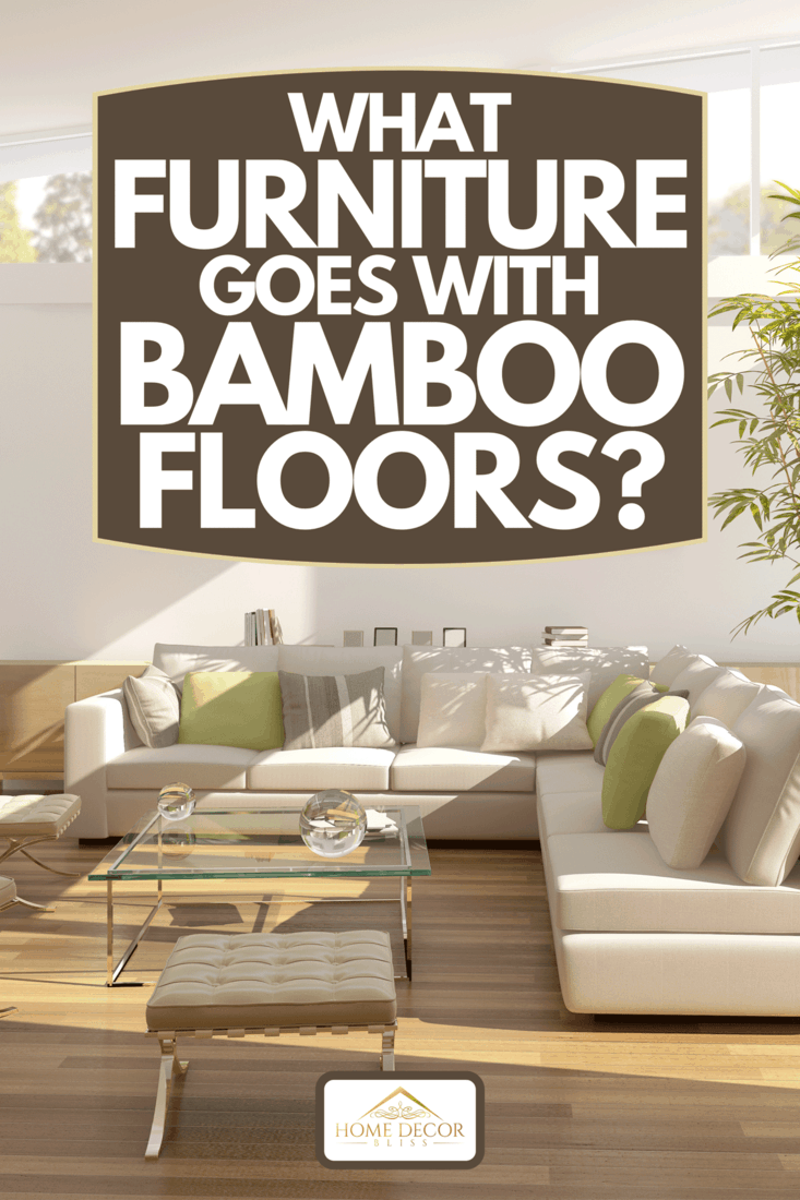 A modern living room with white L shape sofa, large glass doors and windows, What Furniture Goes With Bamboo Floors?