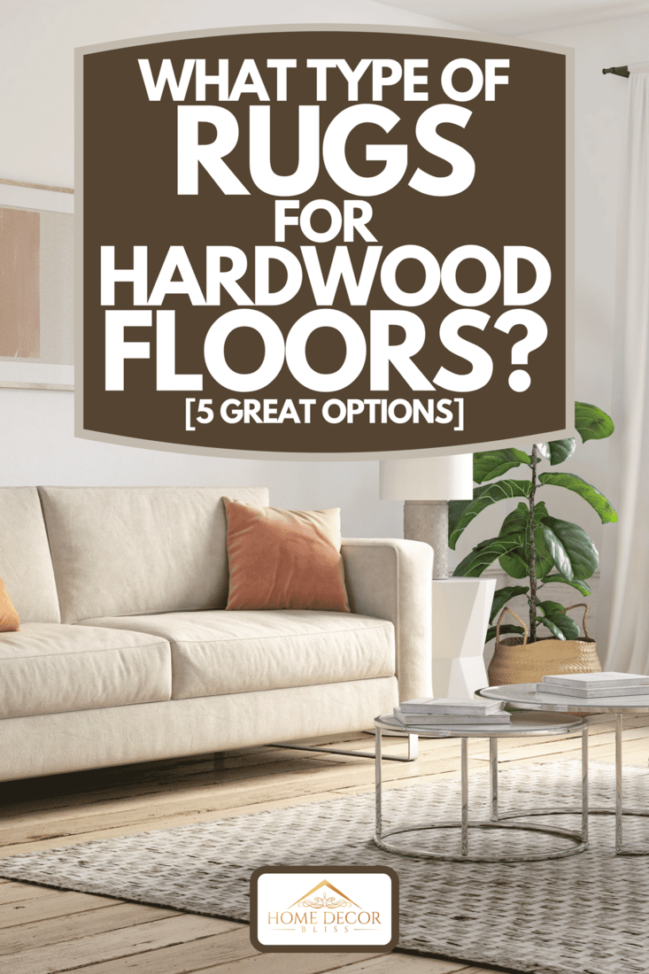 A bohemian living room interior with beige colored furniture and wooden elements, What Type Of Rugs For Hardwood Floors? [5 Great Options]