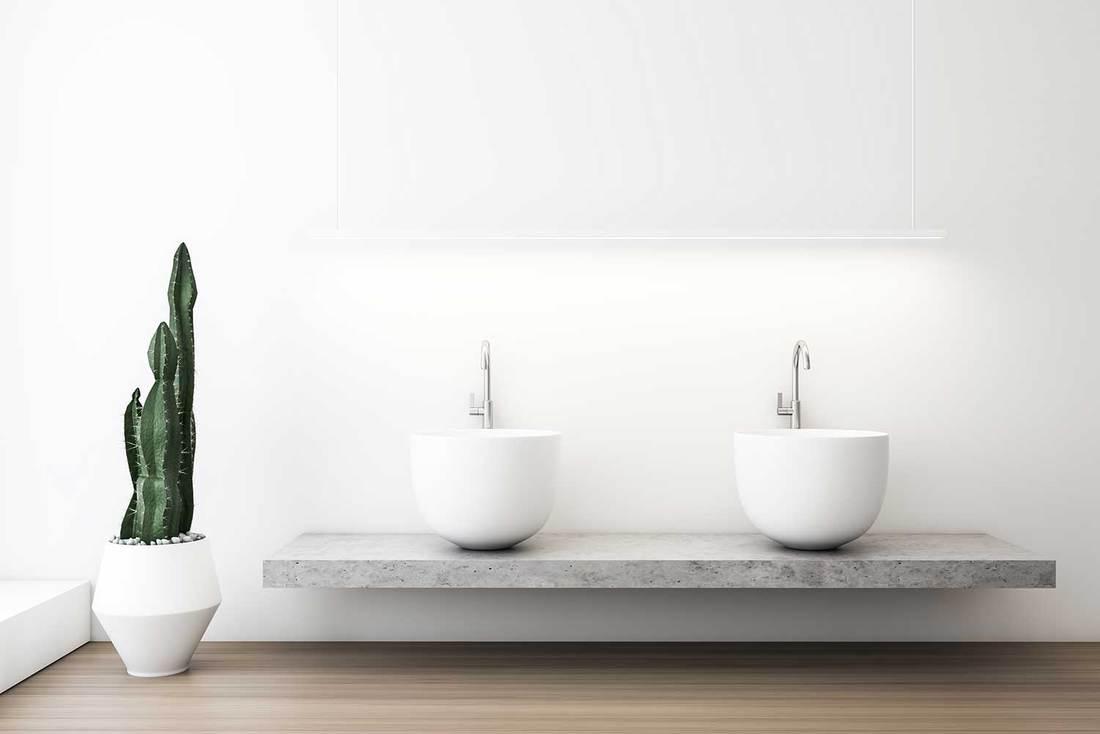 White bathroom interior with massive sink