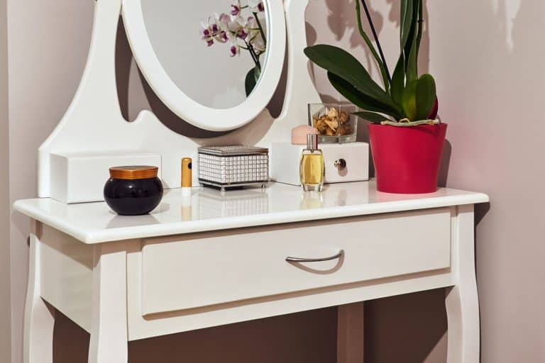 White dressing table with a mirror, How To Arrange And Style A Dressing Table [3 Great Ways]