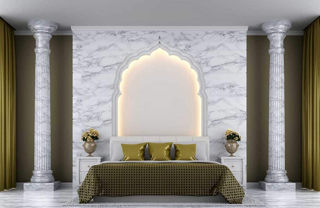 White marble and gold color bedroom interior decorated with arches Indian style