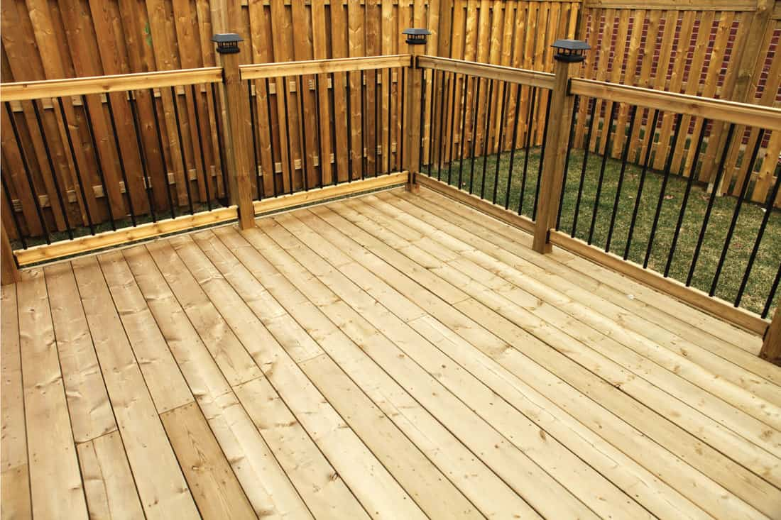 Wood deck with railing and wooden fence in the background. Metal Balusters with Solar Post Caps