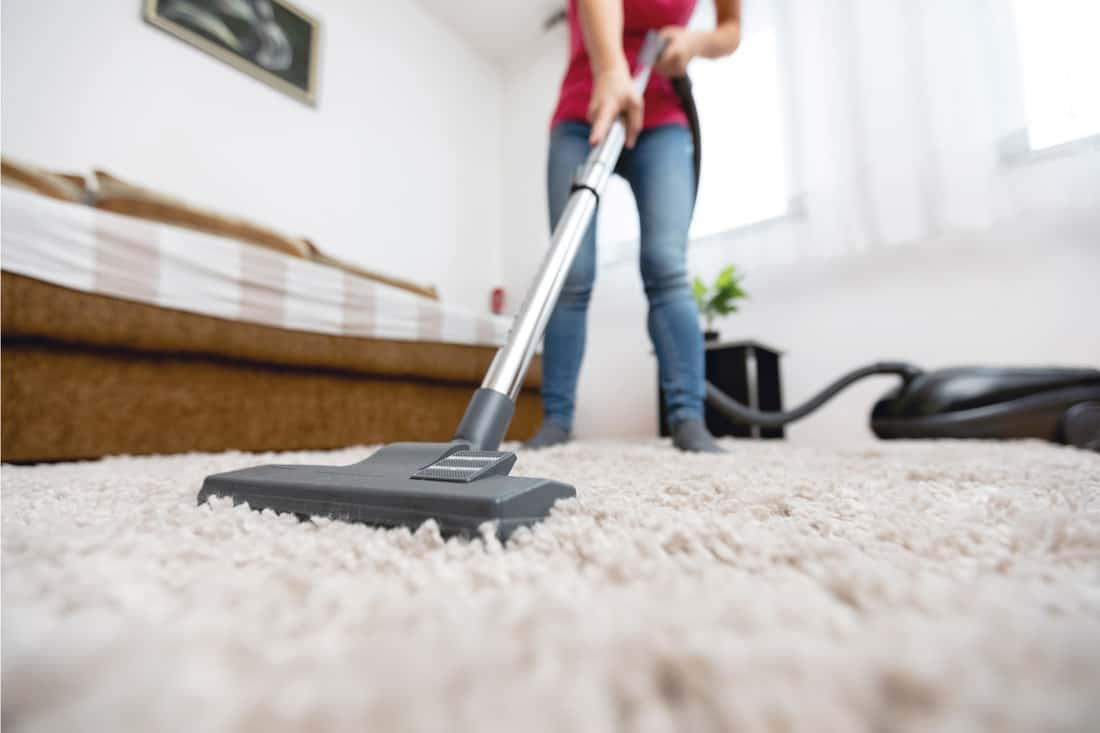 Young woman using vacuum cleaner to clean carpet in the house