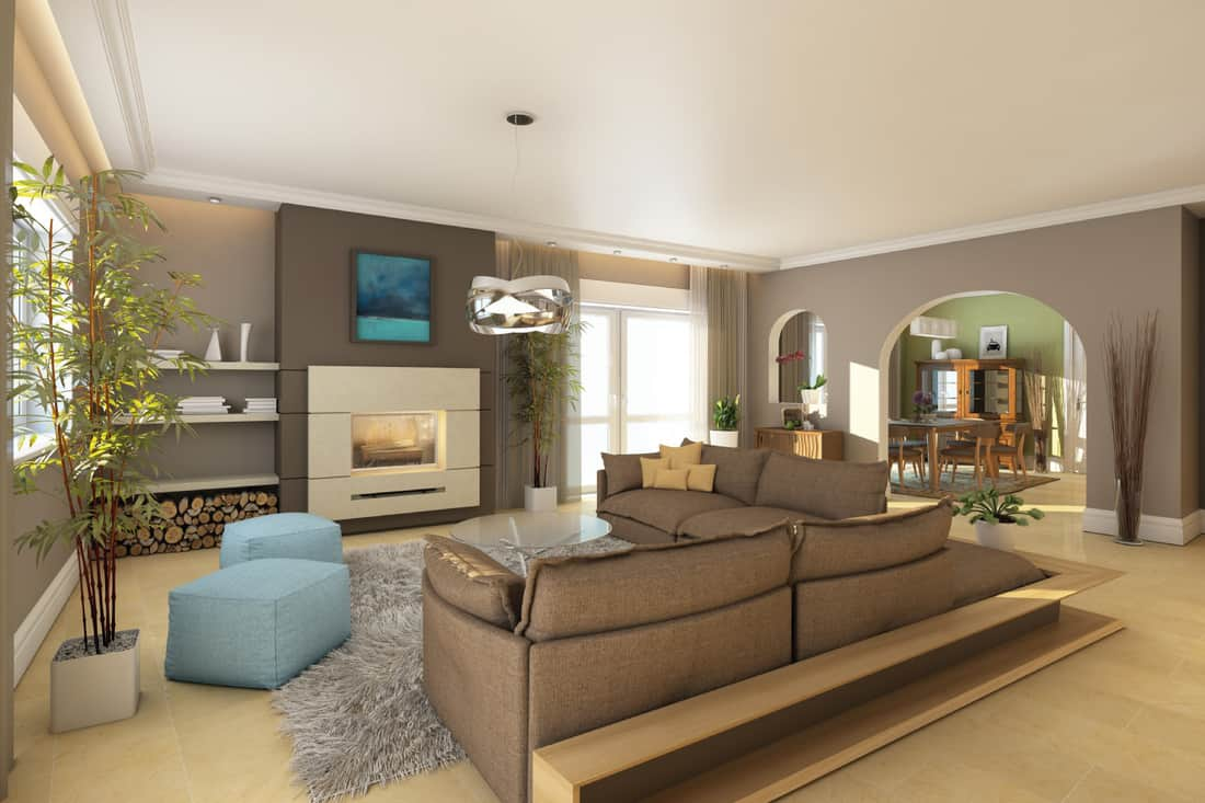 bamboo inspired living space, earth tone materials