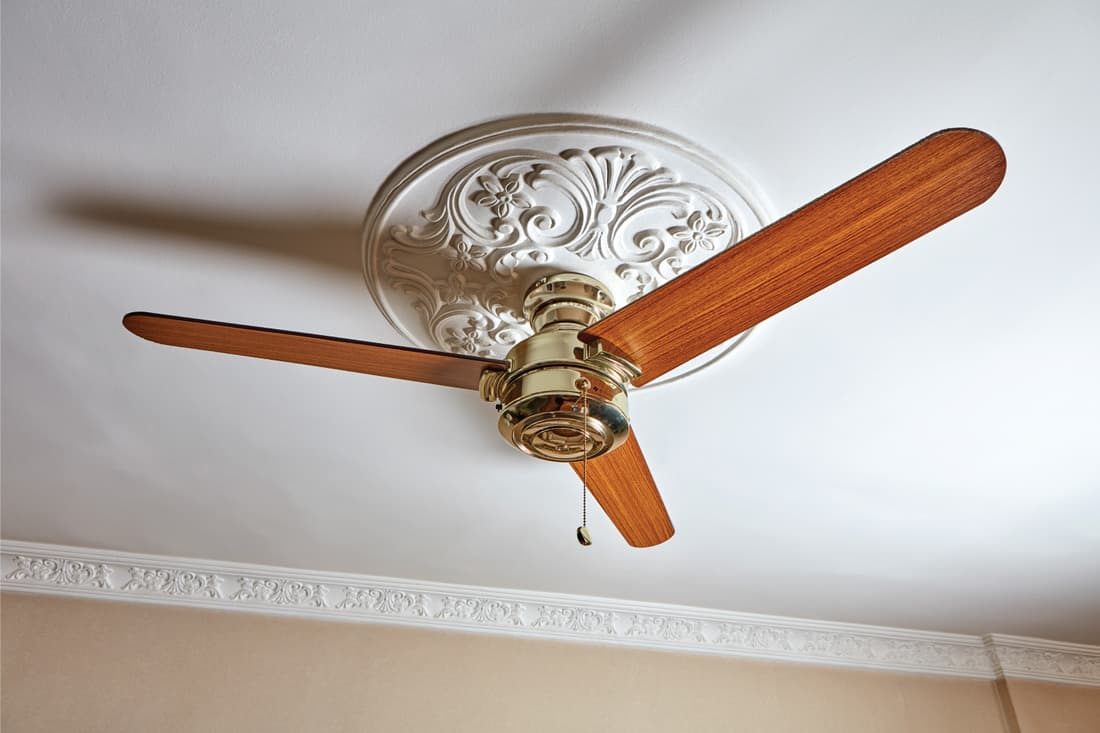 ceiling fan with wooden blades attached to a white ceiling medallion