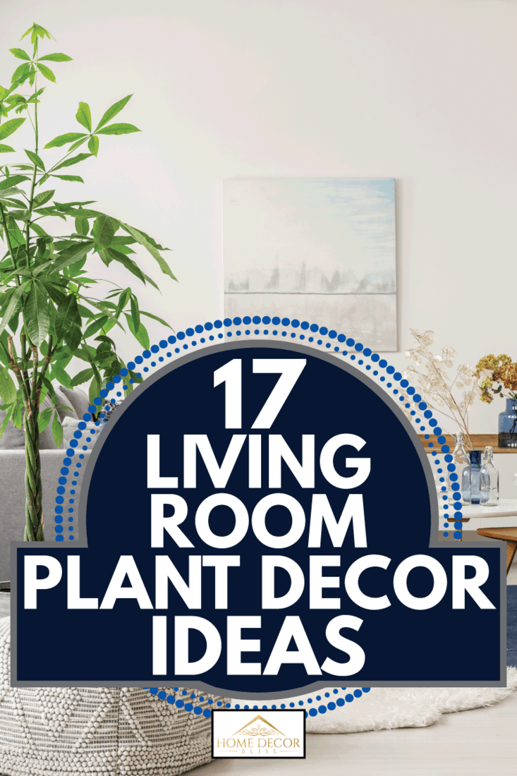 comfortable pouf in white, grey and navy blue living room interior with big green plant. 17 Living Room Plant Decor Ideas