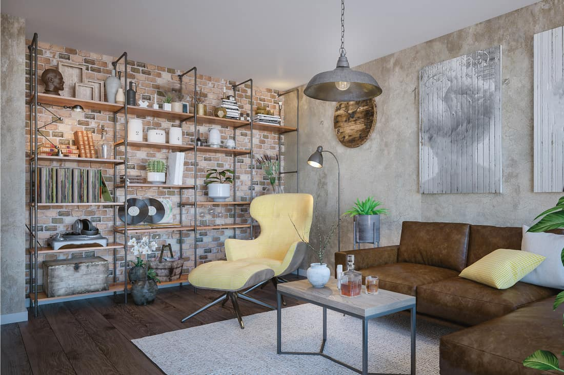 Cozy domestic room with wooden flooring, retro furniture, and metal and wood shelving for items