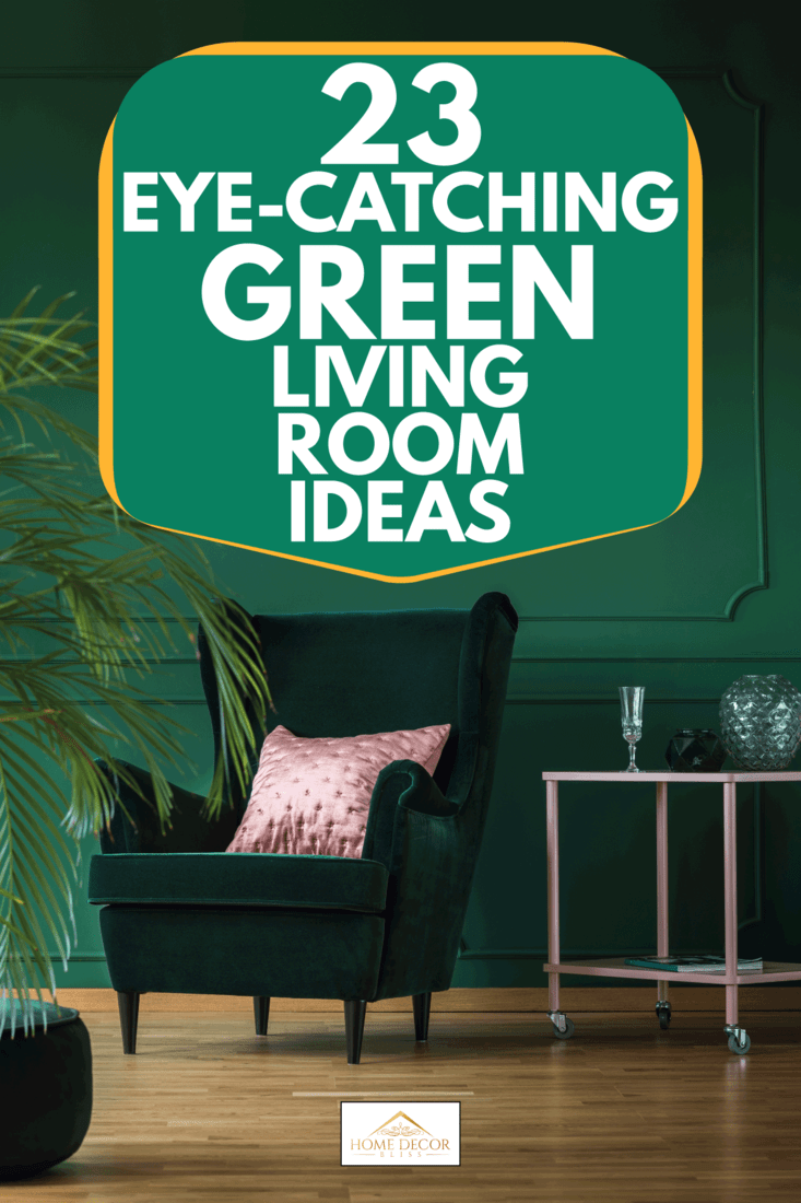 Empty dark green wall of stylish living room with comfortable armchair and pastel pink coffee table, 23 Eye-Catching Green Living Room Ideas