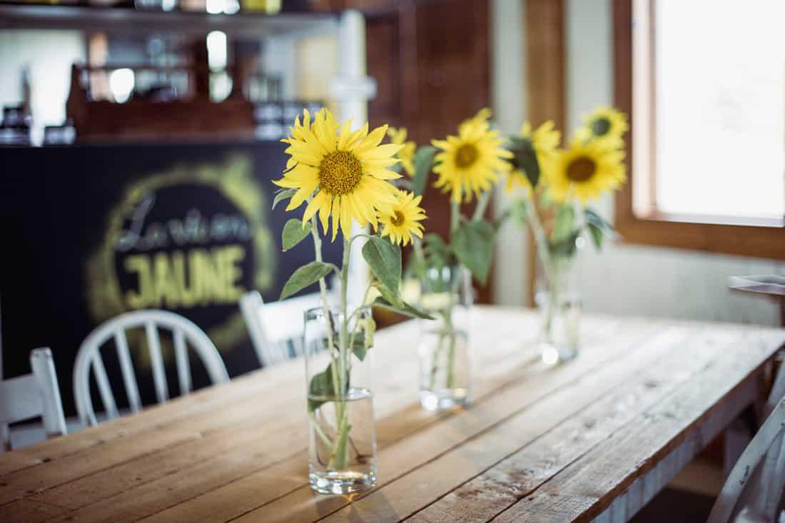 flower, sunflower, dining table, bouquet