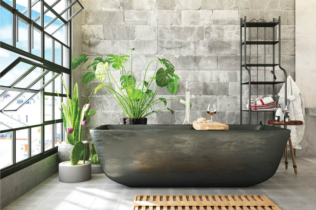 gray Freestanding Bathtub Surrounded By Plants in gray bathroom
