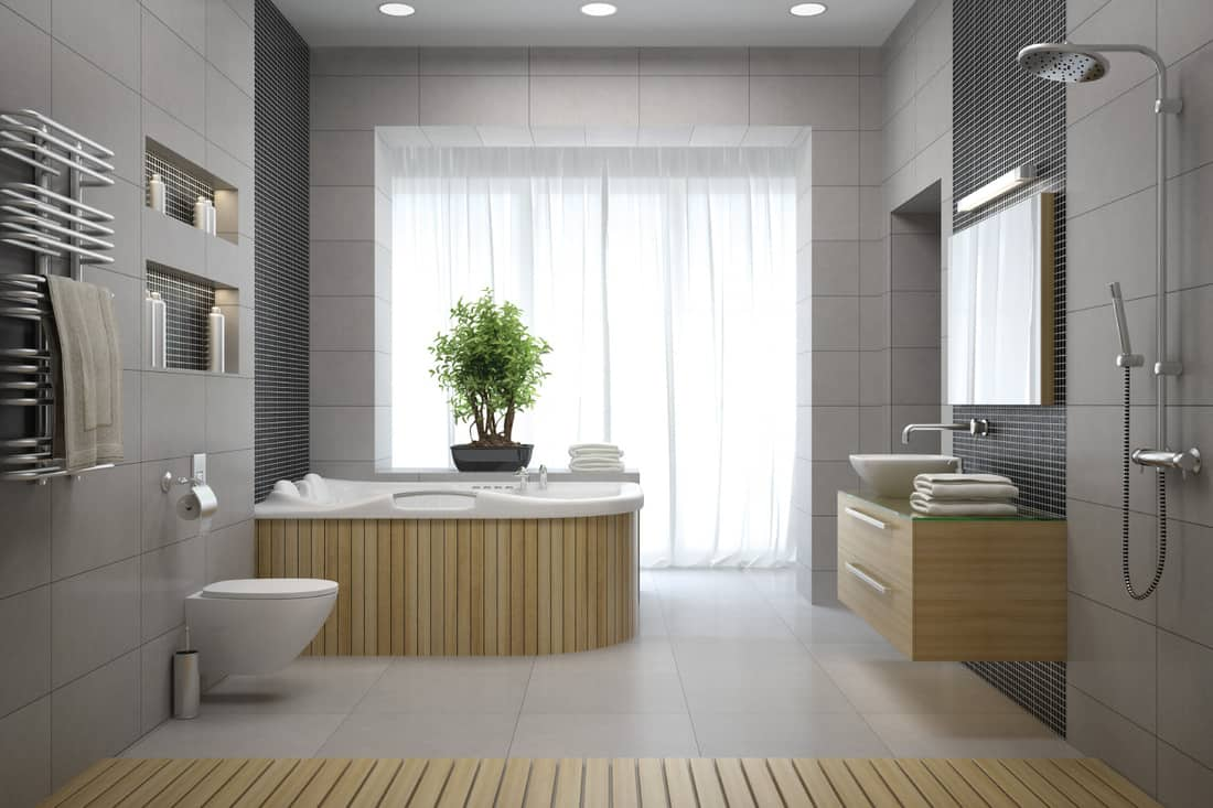 gray bathroom with recessed lighting on the ceiling, bath tub, shower, wooden panels