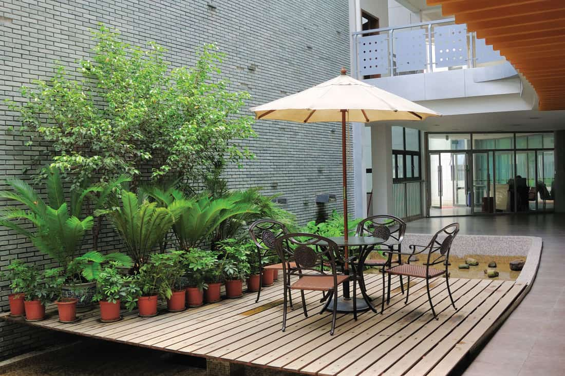house patio with low deck and no railings