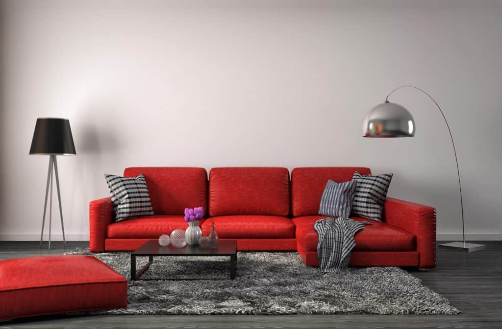 interior with red sofa