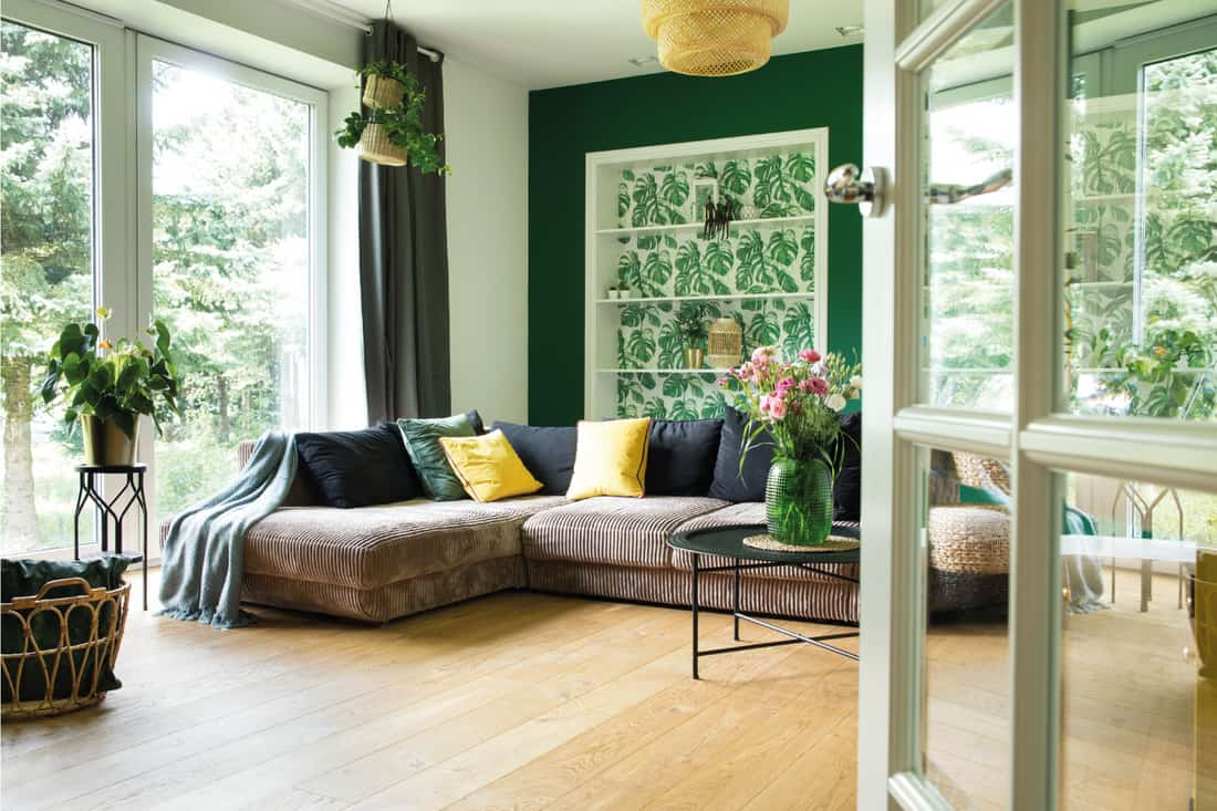 Living room with corduroy sofa, pillows, big window to the garden. Green Wall With A Pop Of Green Wallpaper