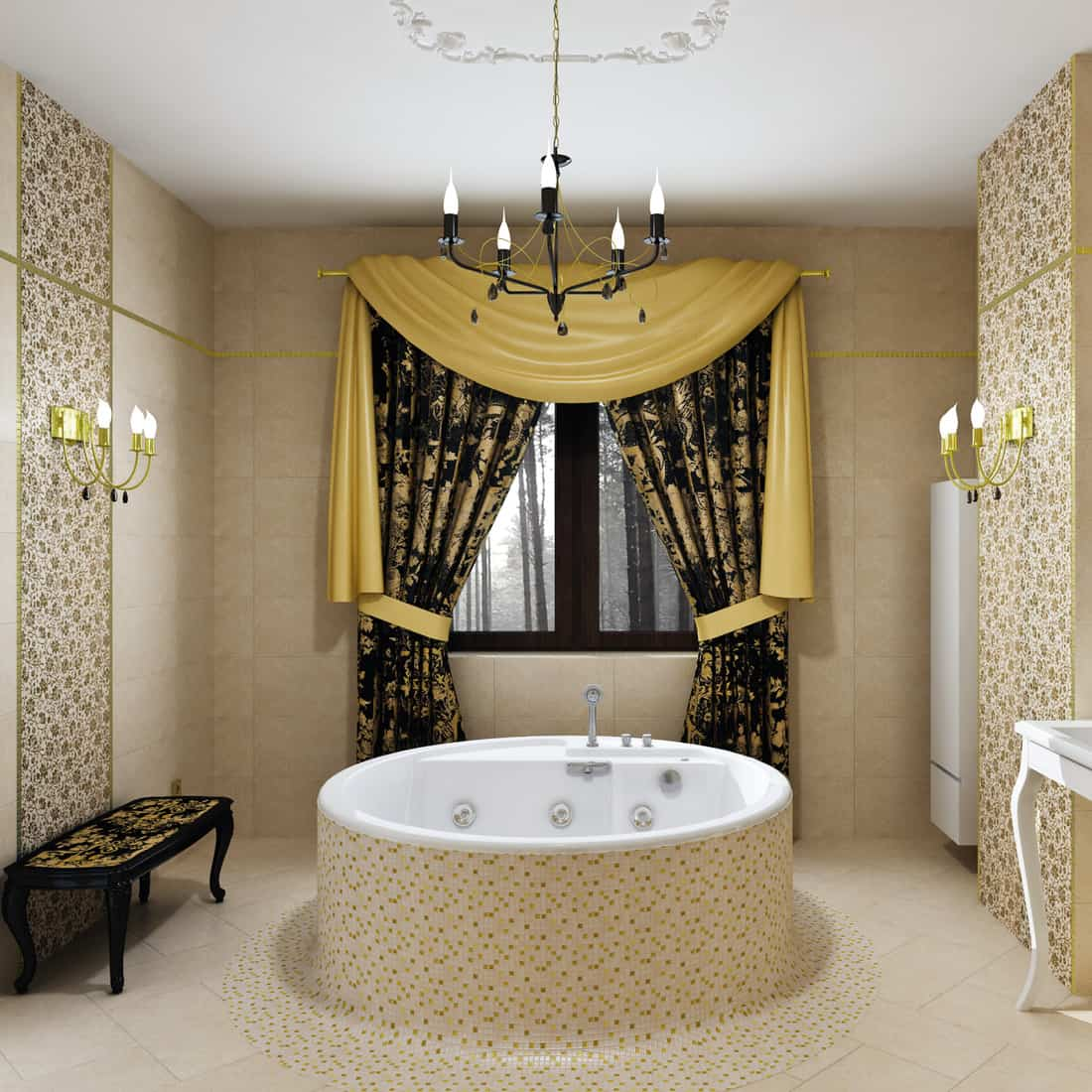 luxury bathroom with candle sconce and chandelier