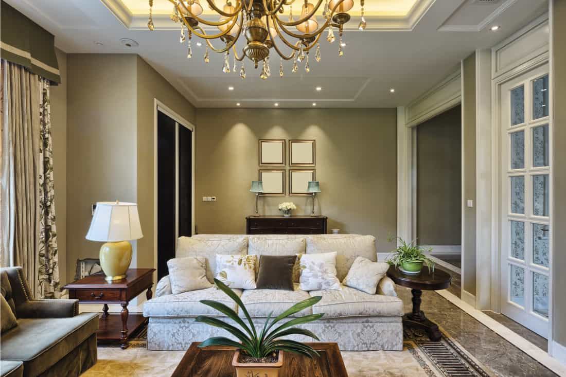 Luxury living room, Two Different Textures of Upholstered Couches