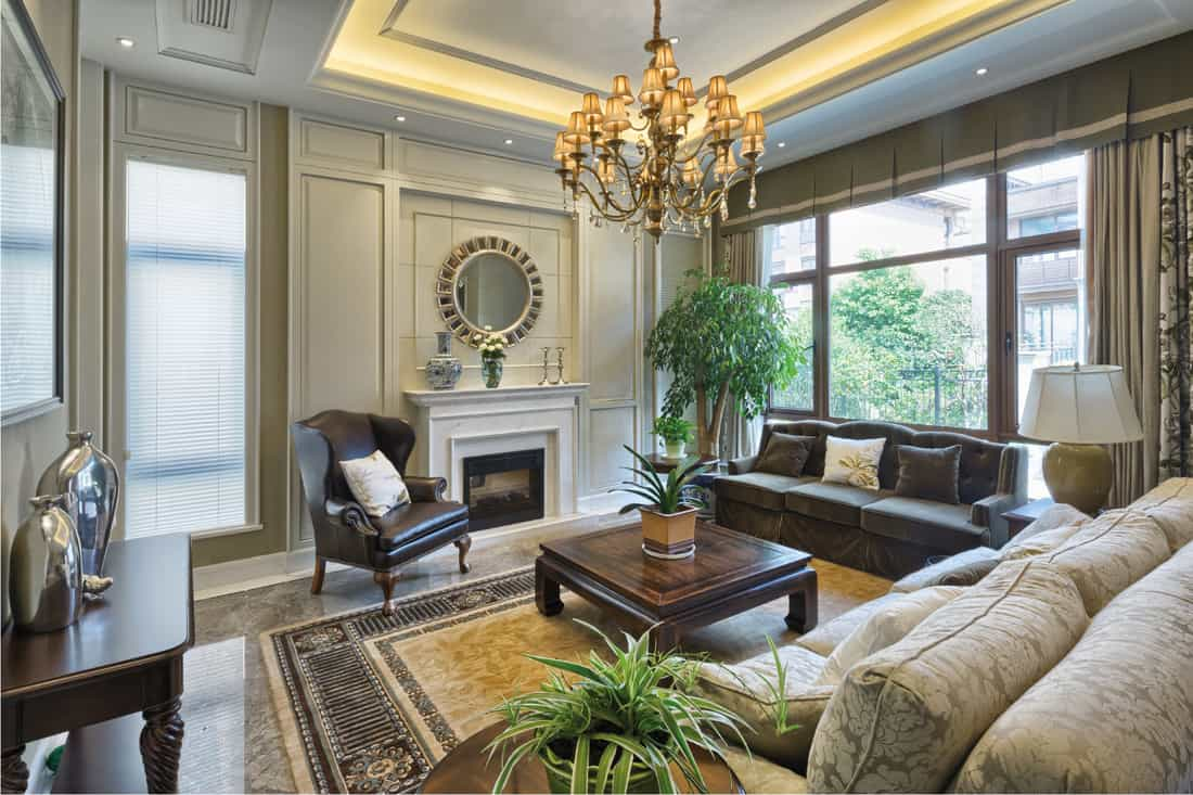 Luxury living room with One Sofa In Leather, One Sofa In Fabric