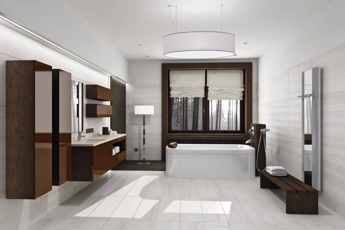 modern bathroom with dark brown accent, large chandelier, floor lamp, ambient light