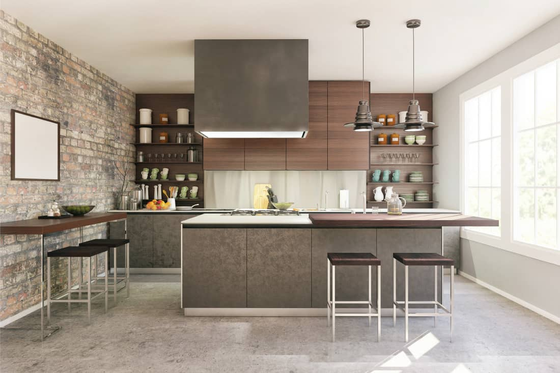 Modern domestic kitchen with Warm-Toned Gray Floors, Brown And Wood-Toned Cabinets
