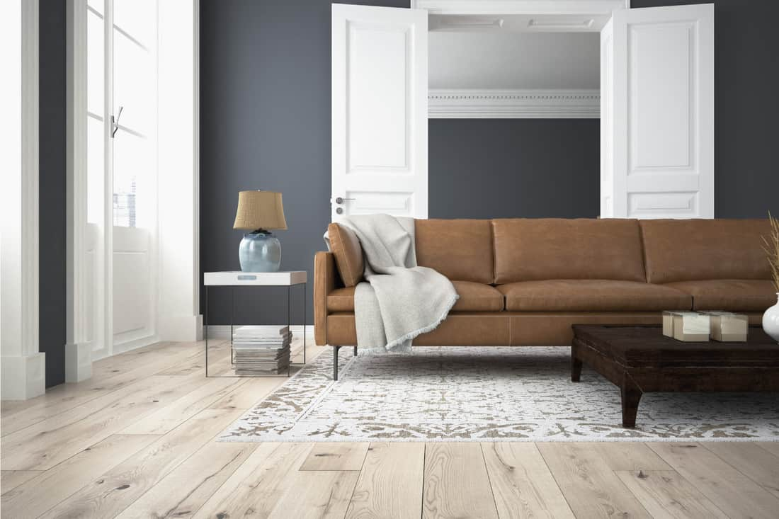 modern living room with Blueish Greywalls white doors and frames, light brown floor. brown sofa