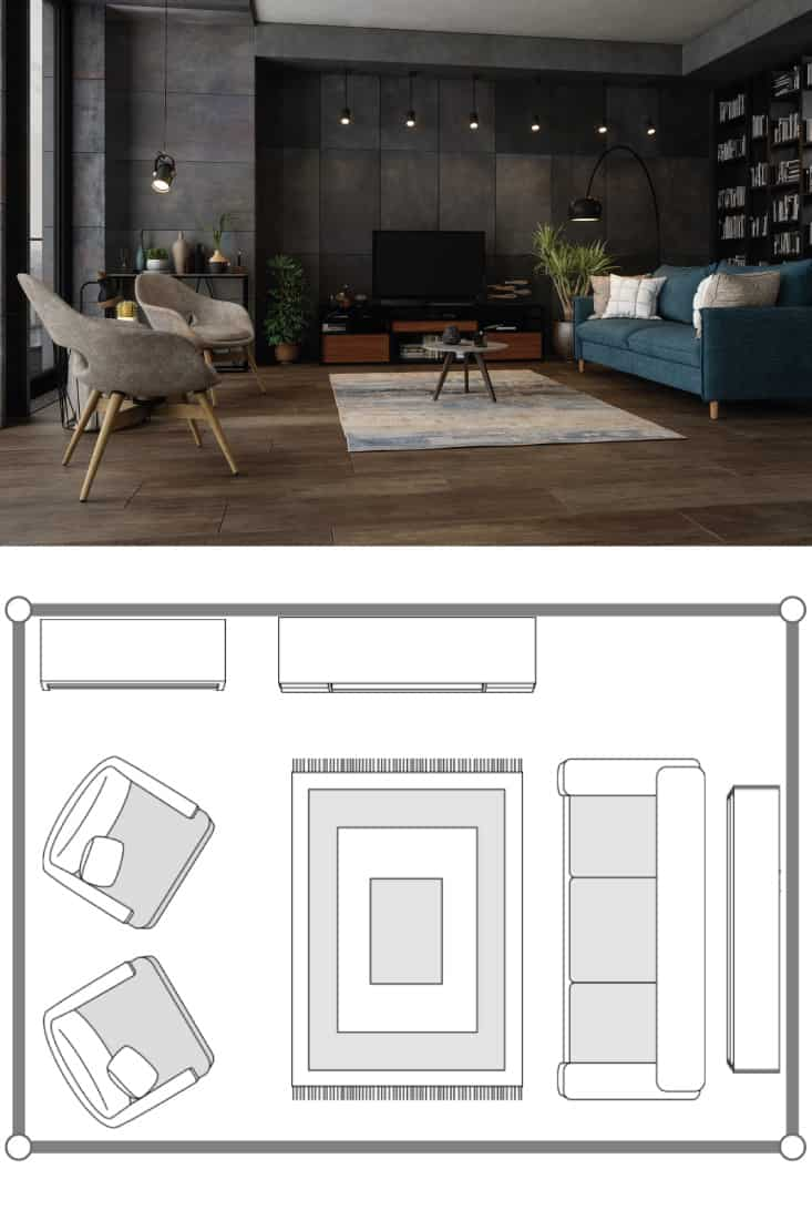 Modern living room with a TV set, large open bookcase, blue sofa and upholstered chair