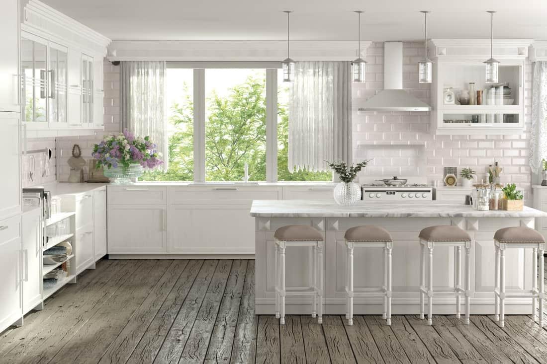 Modern white kitchen with gray floor