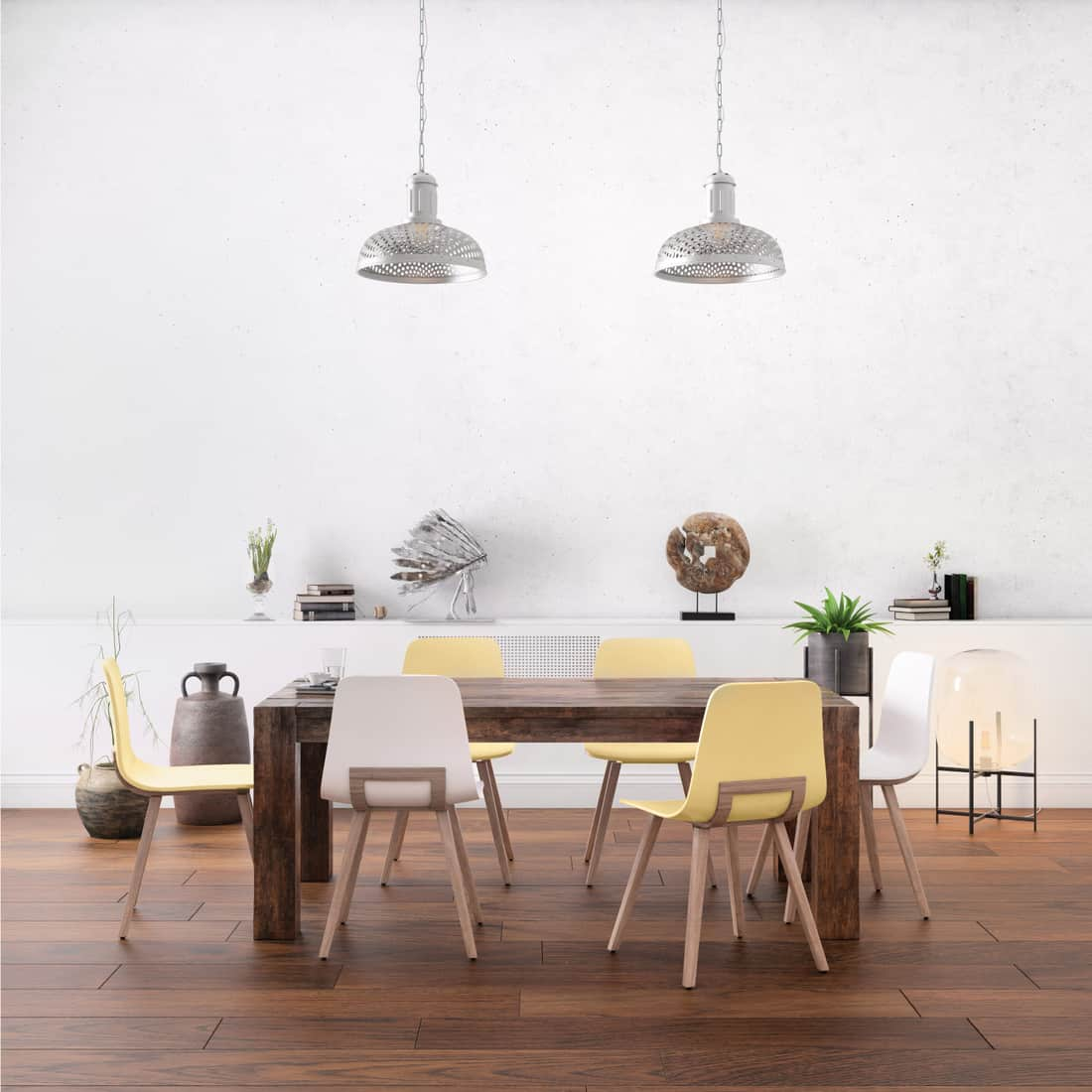 Nordic style office studio dining room with large oak table and chairs, mismatched chair and table legs