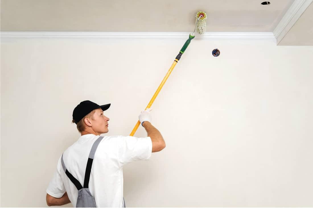 Painter using extended paint roller painting walls and ceilings