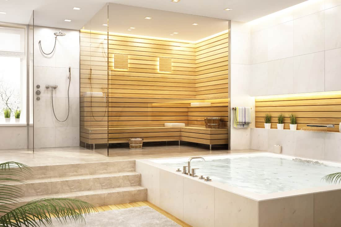 relaxation room and steam room in a house. Sauna And Large Bathtub