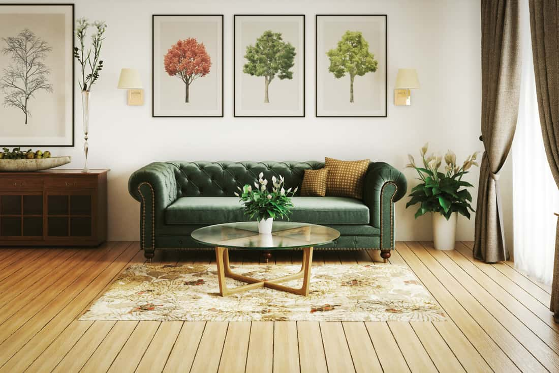 stylish home interior (living room) with high-quality furniture. using the coffee table for potted plants